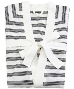 Meraki Hammam Bathrobe White W. Black Stripe L/XL