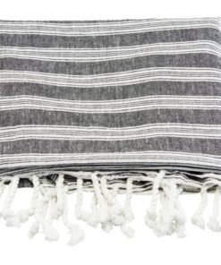Meraki Hammam Towel Black W. White Stripe (Mkan05)